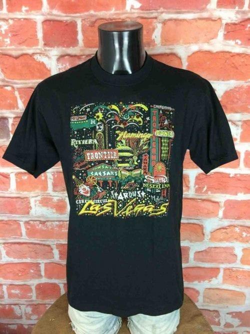 T-Shirt Las Vegas, Marque Jerzees, Made in USA, Véritable Vintage Années 90, Visuel qui s'allume avec des diodes, Taille M, Couleur Noir,Lumière Pile Batteries Diodes Glitters RareHomme