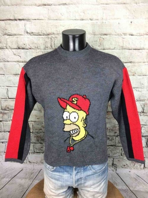 Pull Vintage The Simpsons, Série Homer, Année 2001, Véritable Années 00s, License Officielle Fox, Made in Italy, Taille S, Couleur Gris Rouge Noir, Pullover Groening Baseball Homme