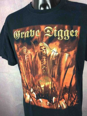 T-Shirt GRAVE DIGGER, édition Liberty Or Death 2007 Europe Tour, double face avec liste des dates, de marque Gildan, Heavy Metal Speed Live