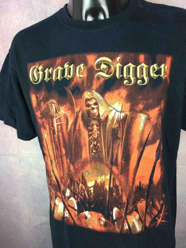 T-Shirt GRAVE DIGGER, édition Liberty Or Death 2007 Europe Tour, double face avec liste des dates, de marque Gildan, Heavy Metal Speed Live