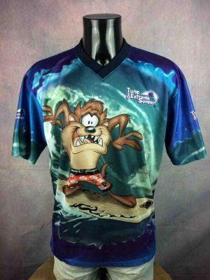 T-Shirt Taz, EditionTune On Extreme Summer, Année 1999, Véritable Vintage Années 90, Licence Officielle Looney Tunes, Mesh, Double Face, Taille L, Couleur Bleu, Maillot Surf Ocean Homme