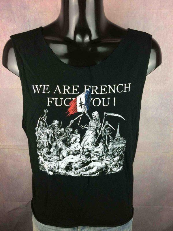 T-Shirt WE ARE FRENCH FUCK YOU, débardeur avec manches coupées / arrachées, version hardcore du tableau La Liberté Guidant Peuple de Delacroix, Revolution
