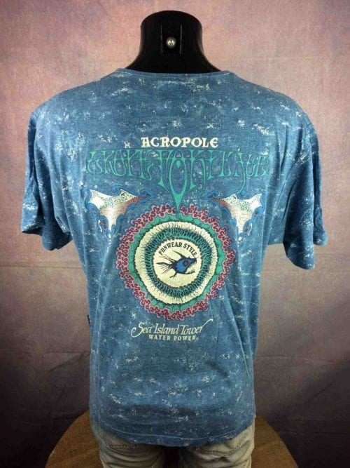 ACROPOLE T Shirt Fun Wear Style Water Power Sea True Vintage 90s Made In France