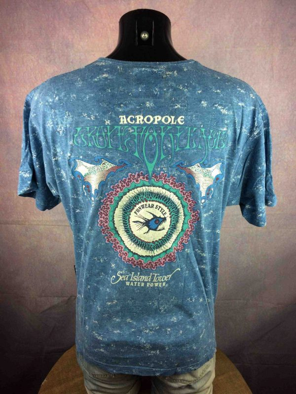 ACROPOLE T Shirt Fun Wear Style Water Power Sea True Vintage 90s Made In France