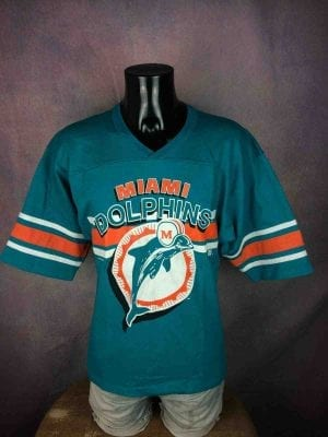 T-Shirt MIAMI DOLPHINS, édition ancien logo, marque Team Rated, Véritable vintage année 1995, Licence 1995 NFLP, NFL Football Official