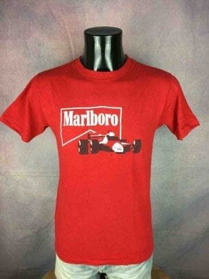T-Shirt MARLBORO, Véritable vintage Années 80, Pur coton, F1 McLaren Racing Team Cigarettes Old School