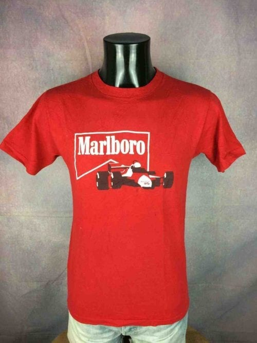 T-Shirt MARLBORO, Véritable vintage Années 80, Pur coton, F1 McLaren Racing Team Cigarettes Old School