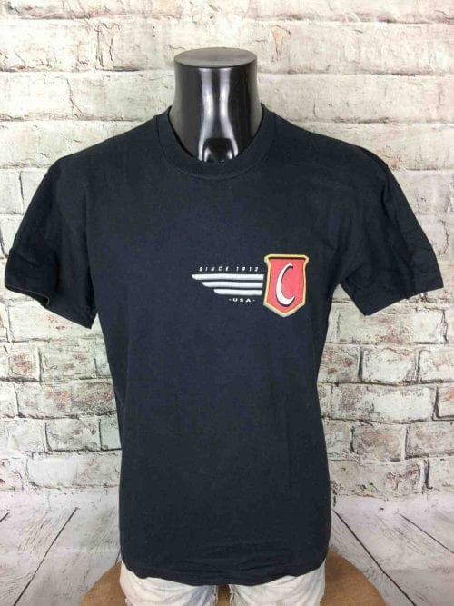 T-Shirt Chesterfield, Véritable Vintage Année 90s, Marque Screen Stars, Made in Ireland, Taille M, Couleur Noir, Cigarette Publicité Old School USA Homme