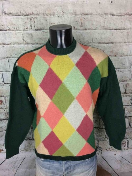 Pull Vintage Benetton United Colors Of, Véritable Années 90s, Made in Italy, 80% laine, Taille L, CouleurVert avec Damiers multicolores, Pullover Homme