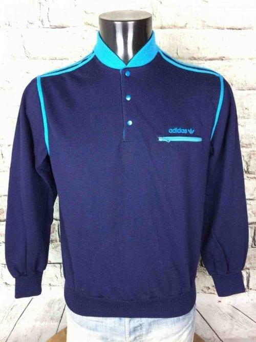 Sweat Adidas, Vintage Années 80, Made in France, Production Ventex, Couleur Bleu, Poche zippée, Col et Boutons, Sport, Unisexe