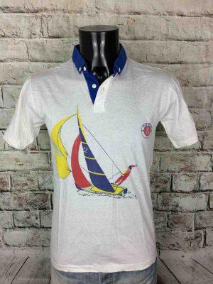 PoloOld River Paris, Véritable Vintage Années 80s, Made in Italy, Pur Coton, Taille S, Couleur Blanc et Multicolore,Marine Régate Navigation Homme