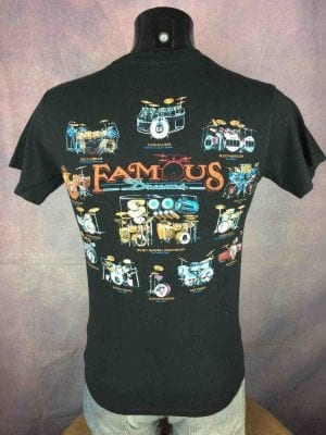 T-Shirt Famous Drums, Vintage 90s de marque Gildan, double face avec batteries de groupes mythiques comme Beatles Pink Flyod Stray Cats Who Led Zep Rush, rock pop