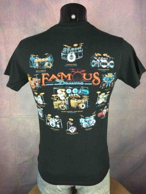 T-Shirt Famous Drums, Vintage 90s de marque Gildan, double face avec batteries de groupes mythiques comme Beatles Pink Flyod Stray Cats Who Led Zep Rush, rock pop