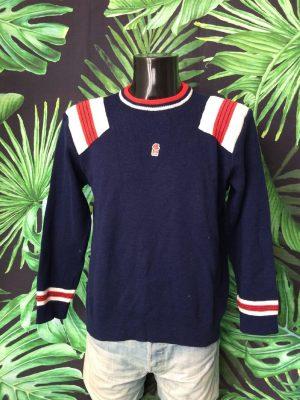 Pull vintage FUSALP, années 80, composé 55% Laine, Rembourré aux épaules, logo cousu,Taille L, Couleur Bleu - Blanc - Rouge, Ski France Mousse Pullover Homme