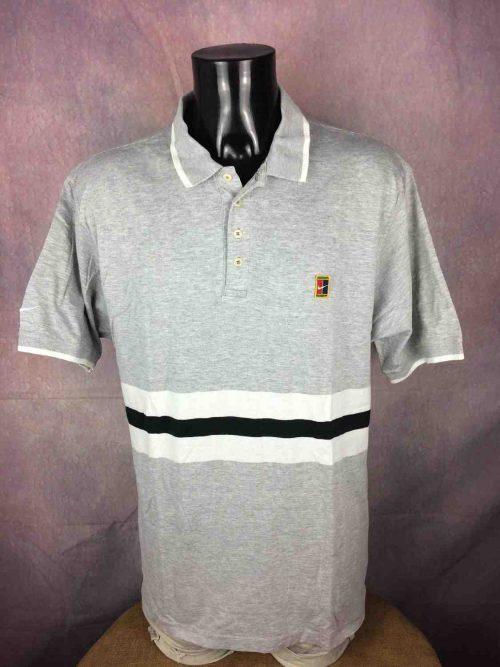 NIKE Polo, Véritable Vintage Année 90s, Série Challenge Court, Made in Thailand, Taille L, Couleur Gris - Blanc - Noir,Swoosh Tennis MaillotHomme