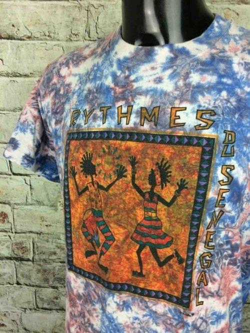 T-Shirt RYTHMES DU SENEGAL de marque Prosimex, véritable vintage années 90, super Tie Dye, Ethnic Dance Afrique Africa