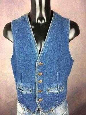 ACROSS Gilet Vintage 90s Jeans Doublé Unisex - Gabba Vintage