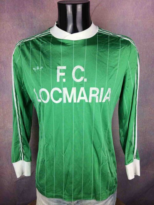 Maillot FCLocmaria, marque Adidas, Production Ventex, Trefoil et 3 bandes blanches, véritable vintage années 80,Porté en match N°3, France Rayé
