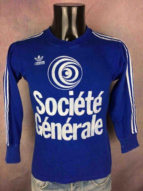 MaillotADIDAS, véritable vintage années 80, Publicité Société Générale feutrine, Coton, avec Trefoil et ses 3 bandes, Porté en match #4, FranceFootball