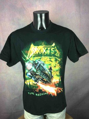 T-Shirt AXXIS , édition Time Machine All Over Europe 2004 Tour , double face avec liste des dates, marque Fruit Of The Loom, Véritable vintage 00s,  Concert Heavy Metal Rock