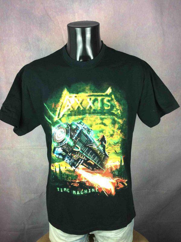 T-Shirt AXXIS , édition Time Machine All Over Europe 2004 Tour , double face avec liste des dates, marque Fruit Of The Loom, Véritable vintage 00s, Concert Heavy Metal Rock
