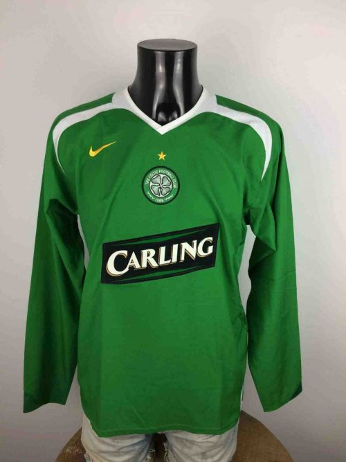 Maillot CELTIC Glasgow, saison 2005 - 2007, modèle Away, manches longues, vintage, signé Nike 90, Made in Portugal, jersey Scotland The Hoops Football