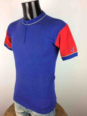 Maillot Haase, Vintage Années 80s, Made in France, Pur coton, Taille S, Couleurs Bleu et Rouge, Jersey Eroica Design Homme
