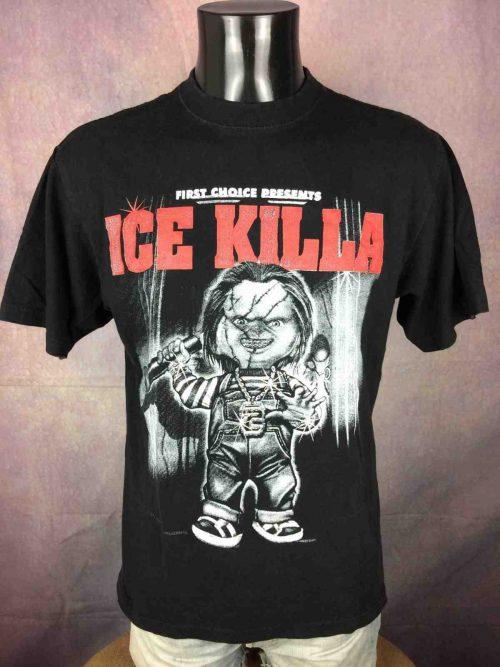 T-Shirt ICE KILLA, édition First Choice Presents, marque Gold Series, Véritable vintage années 90s, Taille M, Couleur Noir, Chucky Hip Hop Rap Black