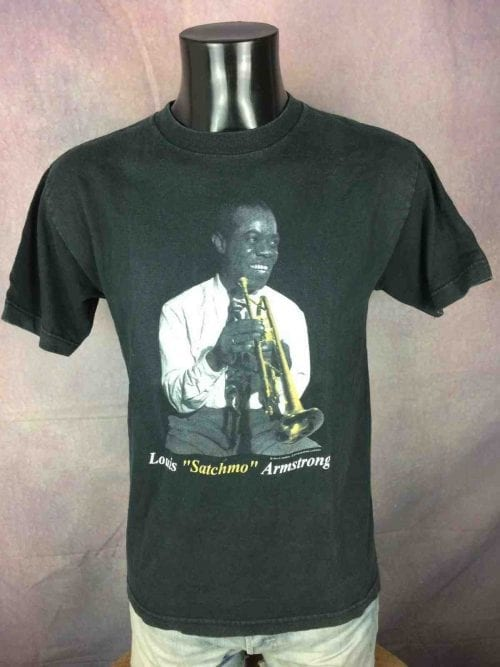 T-Shirt LOUIS ARMSTRONG, dit Satchmo, véritable vintage 2001, Official License, touches or, Jazz Band Gold