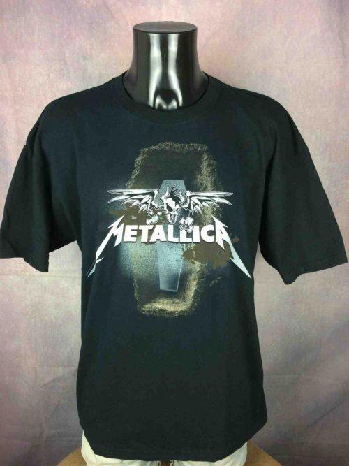 T-Shirt Metallica, Edition Death Magnetic, Année 2008, Official License, Marque Gildan, Pur coton, Vintage 00s, Taille XL, Couleur Noir, Metal Heavy Thrash Black Album Homme