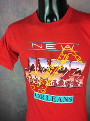 T-Shirt NEW ORLEANS JAZZ, Véritable vintage 1987, Made in USA, de marque  Healthknit, réalisé par Graphtex,  hyper design