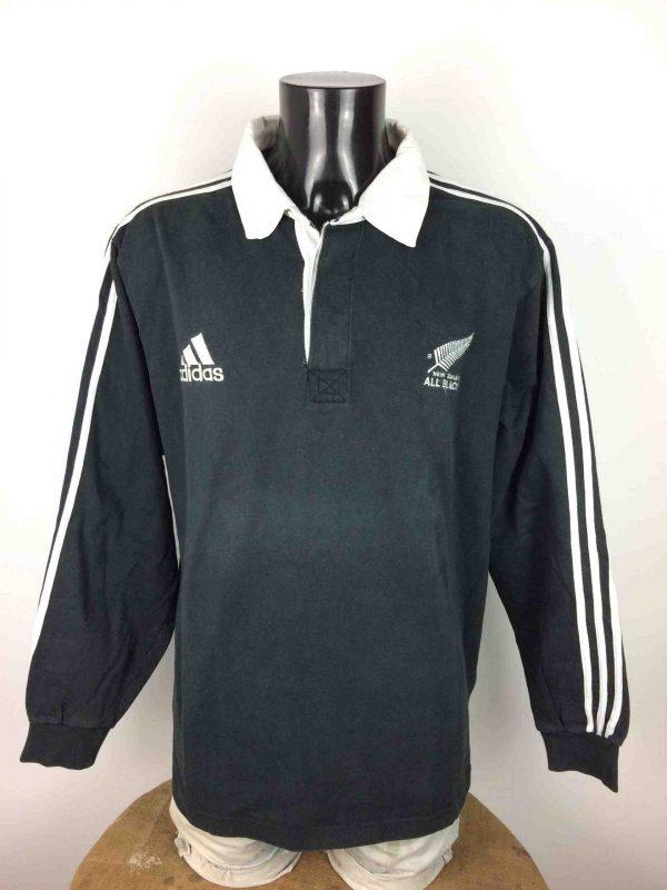 Maillot NEW ZEALAND ALL BLACKS, Saison 1999, modèle Home, de marque Adidasdaté du 08/99, Véritable vintage années 90, Manches longues, 3 bandes, Quinze XV, Jersey Rugby