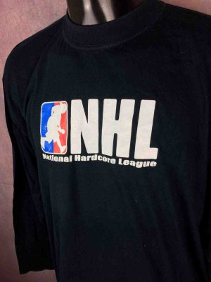 T-Shirt National Hardcore League, édition NHL manches longues, Véritable vintage années 00s,  Punk Rock Straight Edge Oi
