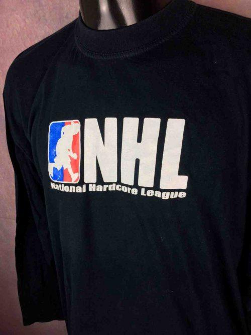 T-Shirt National Hardcore League, édition NHL manches longues, Véritable vintage années 00s,Punk Rock Straight Edge Oi