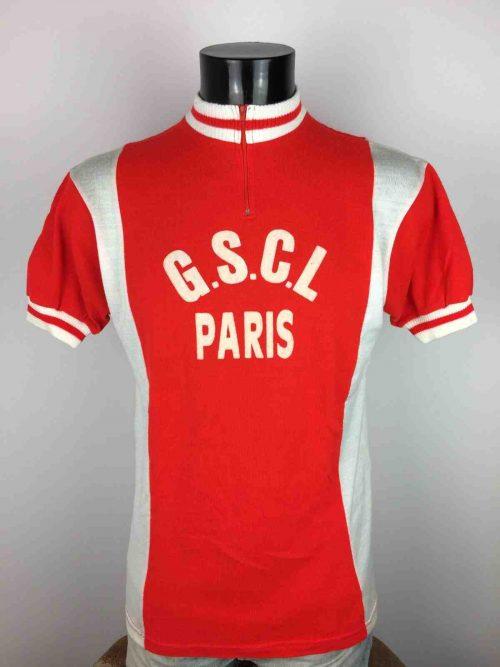 Maillot PARIS GSCL, Made in France, Véritable Vintage Années 80s, Taille M, Couleur Rouge et Blanc, Course Cycle Vélo EroicaCyclisme Homme