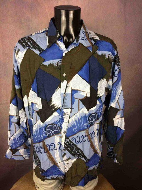 ChemiseVintagePIERRE CARDIN, Modèle Montagne Megeve Val Morzine, Véritable années 90s, Viscose, Psyche Design Shirt