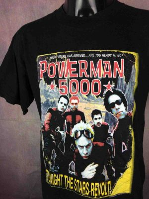 T-Shirt POWERMAN 5000, édition Tonigh The Stars Revolt Rockets Robots Tour 2000, double face avec liste des dates, Official License, marque Giant, Véritable vintage 1999,  Concert