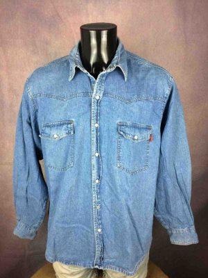 QUADRILATERE Chemise Jeans Denim Vintage 90s - Gabba Vintage
