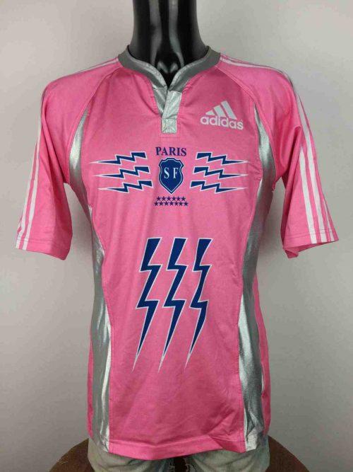 Maillot STADE FRANCAIS , Saison 2007 2008, modèle Away , de marque Adidasdaté du 09/07, Made in Portugal, Manches Longues, Véritable vintage années 00, Paris, Quinze XV, Jersey Rugby