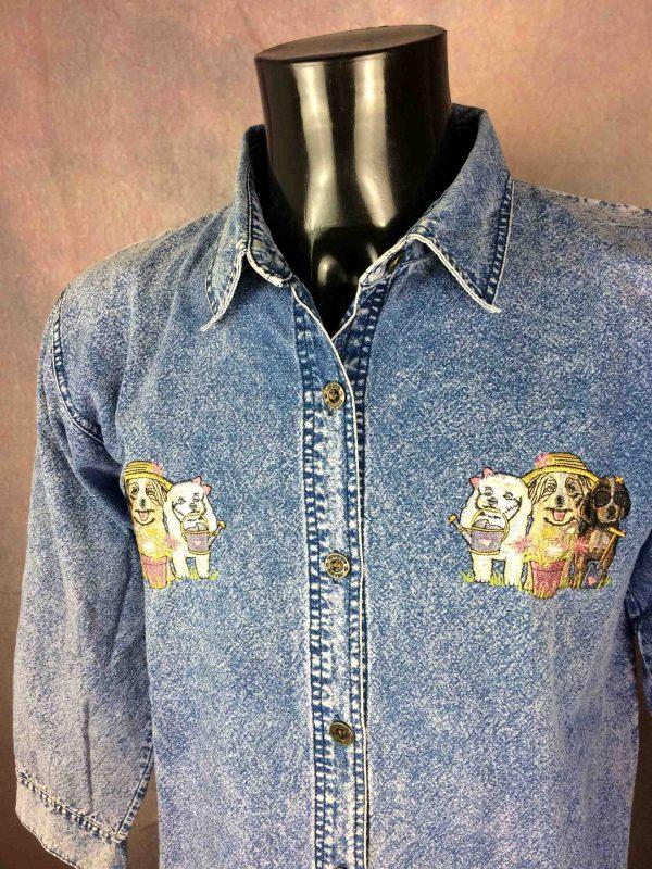 TOP MODEL Chemise Brodé Chien Jeans Snow VTG - Gabba Vintage