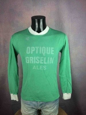 Maillot ALES, Porté en match, N°4, Marque Kopa, Véritable vintage années 80s, Made in France,OAC France Cevennes Jersey Camiseta Football
