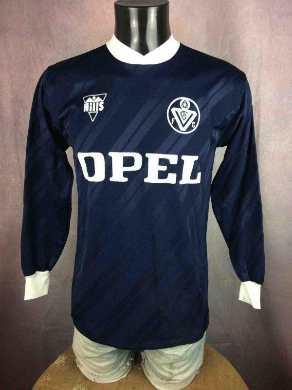 MaillotBORDEAUX FC, saison 1887 1988, modèle UEFA,marque Hills, manches longues, Véritable vintage années 80, publicités Opel et Ligne 7 Football