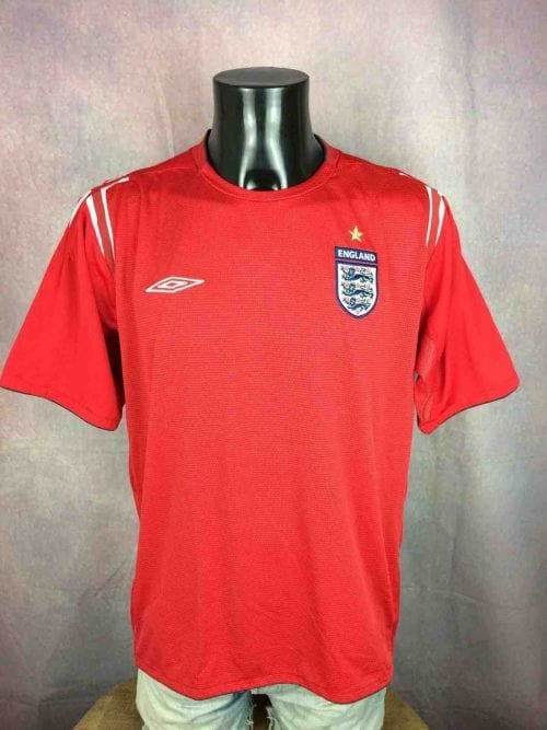 Maillot Angleterre, Saison 2004 2006, Version Away, Marque Umbro, Technologie XStatic, licence official, Taille XL, Couleur Rouge et Blanc, Euro Cup 2004, Jersey England Football Homme