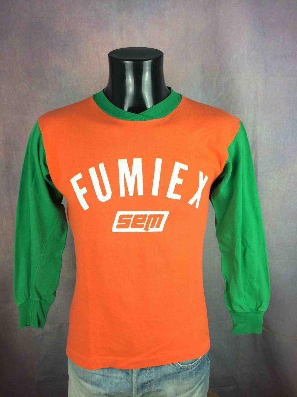 Maillot FUMIEX Sem, Véritable vintage années 80, Porté en match N°22, manches longues, original avec ses coloris orange et vert, France Jersey Camiseta