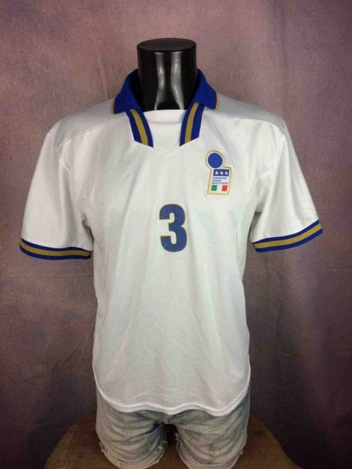 Maillot Italie, Euro Cup 1996, Player Issue N°3, Version Away , Marque Nike Premier, Made in UK, Véritable Vintage 90s, Taille L, Couleur Blanc et Bleu, Jersey Italia Italy Football Homme