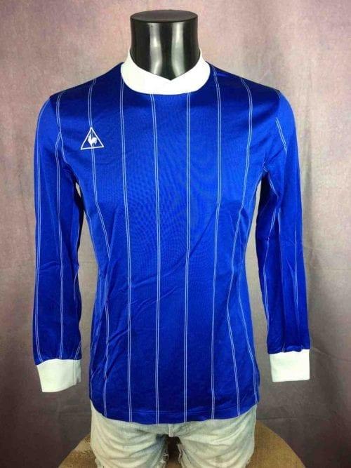 MaillotLE COQ SPORTIF, Véritable vintage années 80, manches longues, Bleu brillant satin rayé de blanc, Football Jersey Camiseta France Glanz