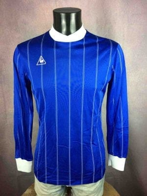 MaillotLE COQ SPORTIF, Véritable vintage années 80, manches longues, Bleu brillant satin rayé de blanc, Jersey Camiseta France Glanz