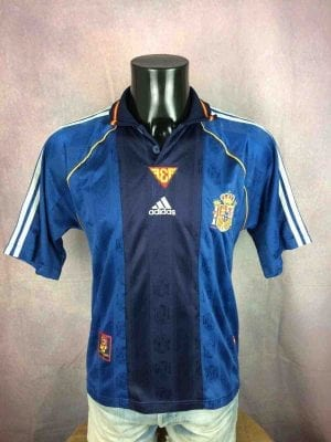 Maillot SPAIN, Saison 1999 - 2000, version Away, Marque Adidas, Made in Portugal, Euro Cup, Véritable vintage années 90s, Jersey Camiseta Football Espagne