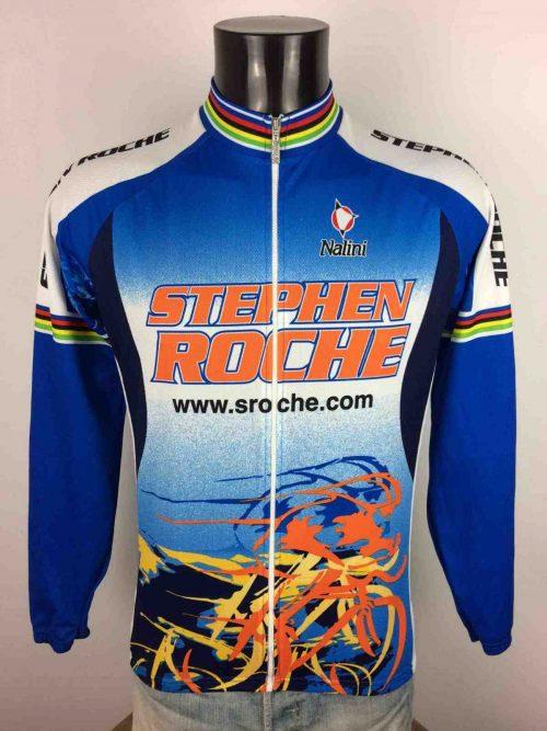 Maillot Stephen Roche, Vintage Années 00s, Marque Nalini, Made in Italy, Liseré Champion du Monde, Taille M, Couleur Bleu - Multicolore, Cyclisme Homme