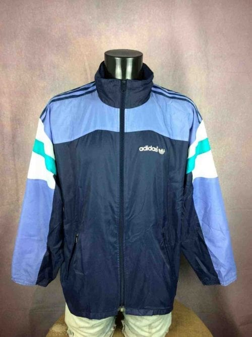 VesteWindbreakerVintage Adidas, véritable vintage années 90, Taille M, Couleur bleu vert blanc, Made in Egypt, légère, se replie dans un sac, windbreaker waterproof, K-Way Nylon, sport et streetwear, Coupe-Vent